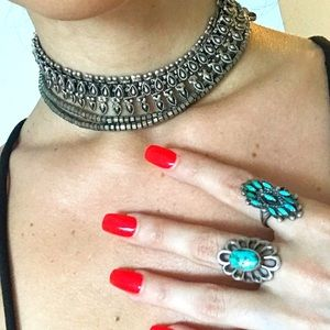 Vintage Silver and Brass Choker Necklace